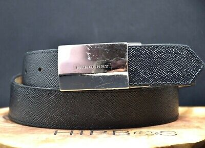 Burberry Authentic Classic Mens Leather Belt With Signature Buckle Black Size 40 • 120£