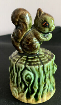 SMALL STUDIO POTTERY BELL WITH Squirrel HANDLE • 4£