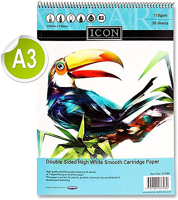 Premier Stationery Icon 110gsm A3 30 Sheets Spiral Sketch Pad, S2837280 • 8£