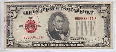 $ CDN13.40 • Buy 1928 F $5 United States Note, Large Red Seal, Circ. Fine         OLD US CURRENCY