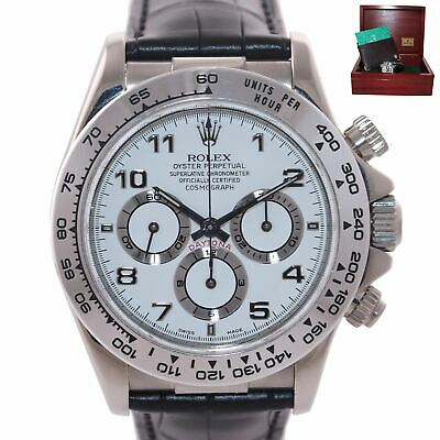 $ CDN25507.97 • Buy 1999 MINT Rolex Daytona Zenith 16519 White Arabic 18k White Gold Leather Watch