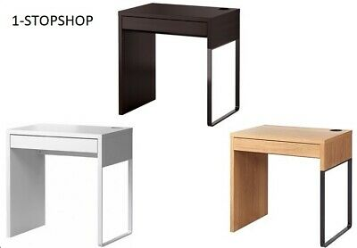 IKEA MICKE Desk, Computer Home Office, In White & Black/Brown Oak 73 X 50cm • 69.99£