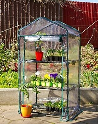 £22.49 • Buy New 3 Tier Wheels Mini Greenhouse Cold Frame Pvc Cover Garden Outdoors Plants