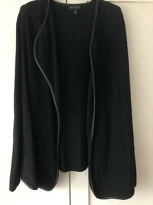 Stunning Black Waterfall Cardigan With Leather Trim From The White Company In 12 • 20£