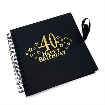 £11.99 • Buy 40th Birthday Black Scrapbook, Guest Book Or Photo Album With Gold