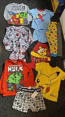 Boys Age 3-4 Years Clothes Bundle Pyjamas X 11 (Not All Matching) • 12£