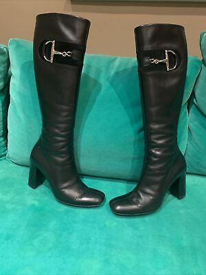 £170 • Buy Gucci Calfskin And Suede Horsebit Knee High Boot Soft Black Leather Size 39
