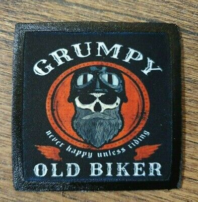 GRUMPY OLD BIKER ! MOTORCYCLE HARLEY HD TRIUMPH DAD BOBBER CHOP Sew On Patch • 4.50£