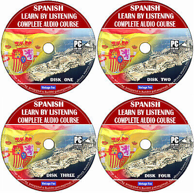 Spanish Language Course Learn By Licensing From Beginners To Advance 4x Audio CD • 3.99£