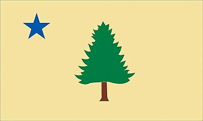 $5.99 • Buy 3x5 Inch Vintage Yellow Maine State Flag Sticker (Tree And Blue Star)