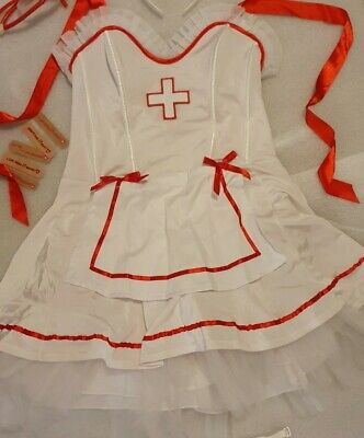 Ann Summers Nurse Outfit & Accessories Size 12 Fancy Dress White Red M Sexy • 20£