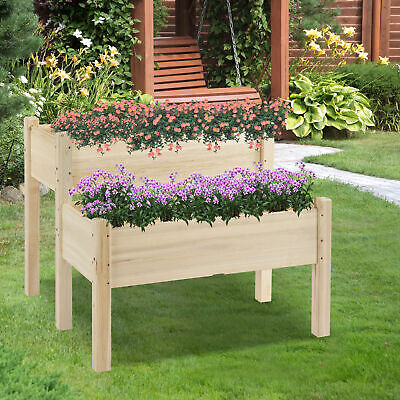 £65.99 • Buy Outsunny 2-Piece Solid Fir Wood Plant Raised Bed  Garden Step Planter Stand