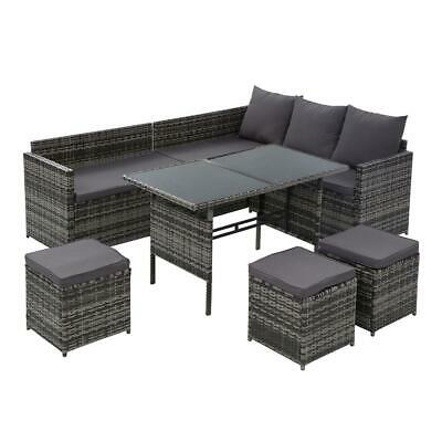 AU768.24 • Buy Gardeon Outdoor Furniture Dining Setting Sofa Set Wicker 9 Seater Storage Cover