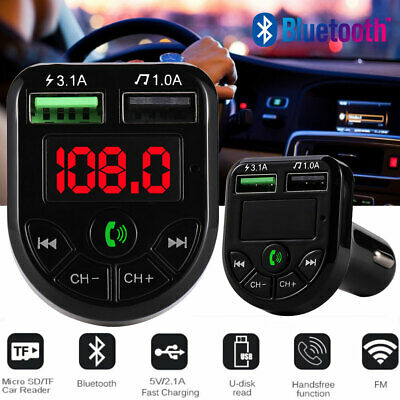 FM Transmitter MP3 Music Player Car Kit Wireless Bluetooth Radio USB Charger AU • 4.95£