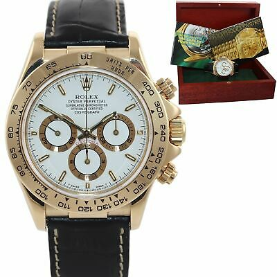 $ CDN24870.02 • Buy MINT Rolex Daytona Zenith 16518 White Stick Dial 18k Yellow Gold Leather Watch