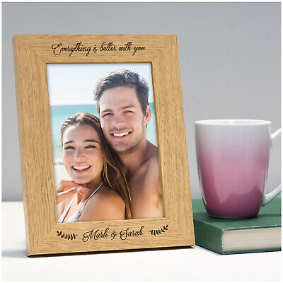 £11.95 • Buy Anniversary Gifts For Her Him PERSONALISED Wood Photo Frame Girlfriend Boyfriend