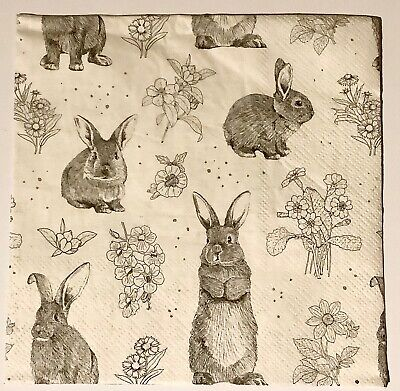 £1.05 • Buy 4 X Single Table Party Paper Napkins Decoupage - Hares Rabbits Flowers Easter