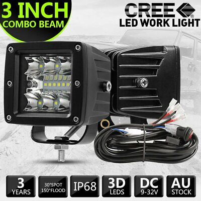 AU39.99 • Buy Pair 3inch CREE LED Work Light Bar Cube Pods Spot Flood Driving Offroad 3-Row 4