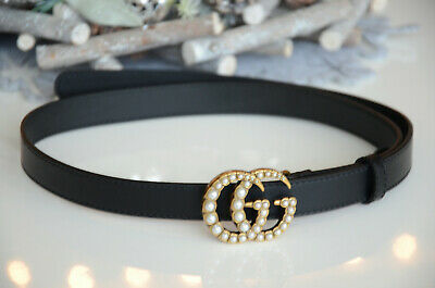 AU369.90 • Buy Auth GUCCI PEARLS SKINNY Black Belt GOLD GG Marmont Buckle 85 / 34 Fits 28-30