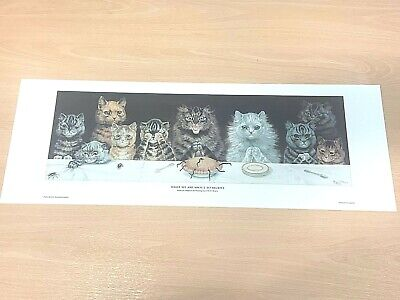 £14 • Buy Louis Wain - What We Are About To Receive Coloured Print - Cats Waiting To Eat