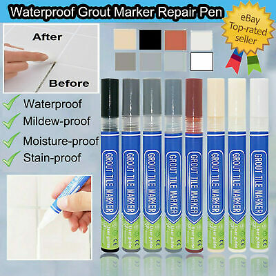 Grout Pen Anti-Mould Tile Repair Kitchen Bathroom Shower Black White Grey UK • 2.39£