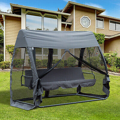 £259.99 • Buy Outsunny Garden Swing Chair Patio Hammock 3 Seater Bench Canopy Lounger Grey