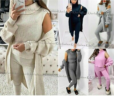Womens 3 Piece SUIT Roll Neck Chunky Knitted Tracksuit Ladies Rib LoungeWear Set • 19.95£