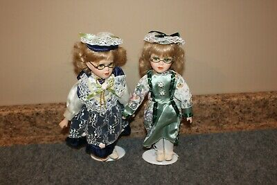 $ CDN32.78 • Buy LOT-2 Doll 12  Dolls Porcelain Face & Hands Glasses Stand Beautiful Dresses