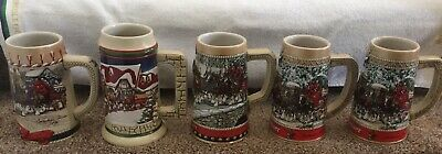 $ CDN126.31 • Buy Budweiser Holiday Beer Steins Lot Of 5 Collection