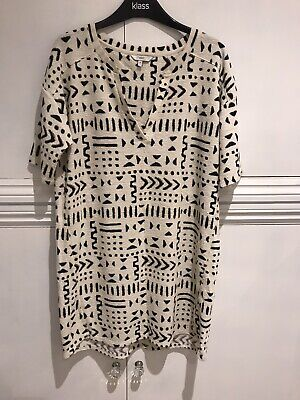 Womens Stretchy Aztec Style Dress Uk 14 Cream With Detail Pattern Casual  • 4£