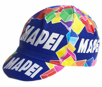 Mapei Retro Vintage Cycling Team Made Italy Summer Under Helmet Bike Hat Cap   • 4.99£