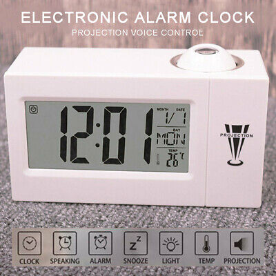 AU11.99 • Buy Digital LED Projection LCD Voice Talking Alarm Time Clock Temperature Projector