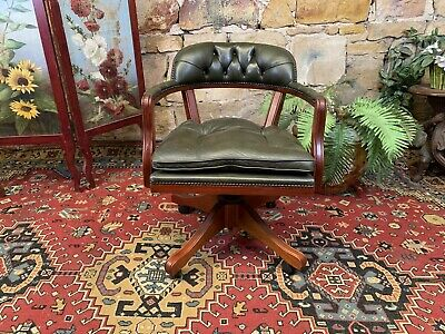 AU740 • Buy Vintage,Antique Style Swivel Office Desk Chair~Green Leather Chesterfield