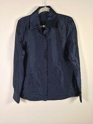 AU59.95 • Buy Scanlan Theodore Womens Navy Blue Button Up Shirt Size 12 Long Sleeve