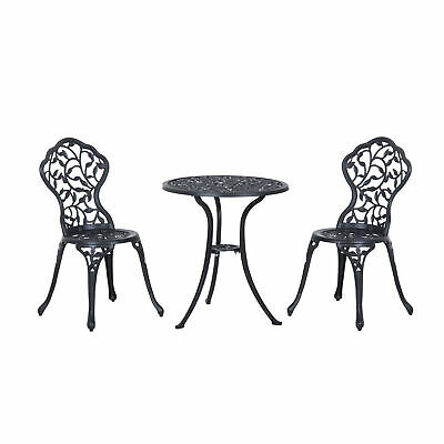 £119.99 • Buy Outsunny Cast Aluminum Bistro Set Garden Coffee Table Chair Outdoor Dining Seat