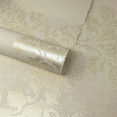 £7.99 • Buy Fine Décor - Ivory Cream And Gold Shimmer Textured Pixel Floral Damask Wallpaper