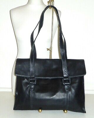 TIGNANELLO - Black Buttersoft Leather Briefcase LAPTOP Shoulder Bag - LARGE • 7£