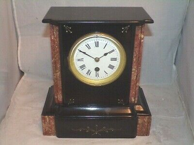 Antique 8Day French Mantle Clock In A Beautifully Polished Slate & Marble Case. • 31£