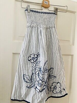 Abercrombie & Fitch  Blue Striped Embroidered Bandeau Strapless Dress  Small • 4£