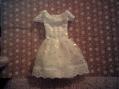 DOLLS HOUSE HAND MADE Wedding Dress ,white With Silver Stars Or Party Dress  • 3.50£