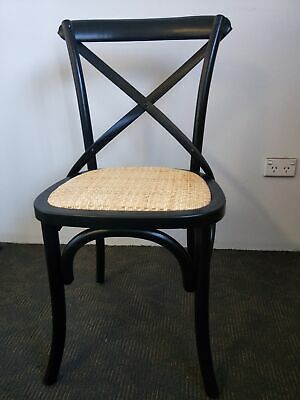 AU100 • Buy New French Provincial Industrial Dining Cross Back Chairs - Black