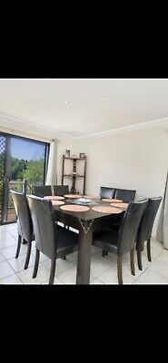 AU240 • Buy Dining Suite 9 Piece Square Table And 8 Comfy Chairs. Bar Stools Flat Screens