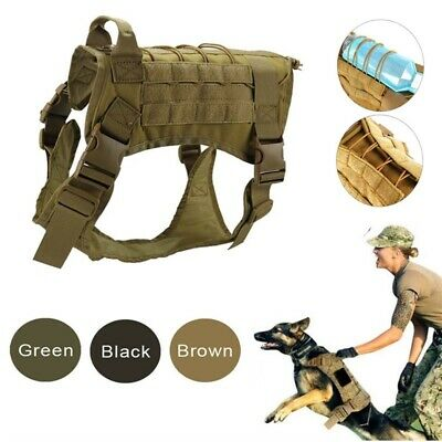 AU35.99 • Buy Tactical K9 Training Dog Harness Military Adjustable Nylon Vest Durable M-XL