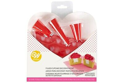 £5.99 • Buy Filled Cupcake Decorating Set Wilton Piping Bags And Tips Valentines Cup Cakes