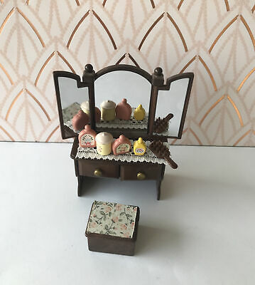 Sylvanian Families SPARES-Dark Brown Dressing Table With Accessories,furniture • 10£