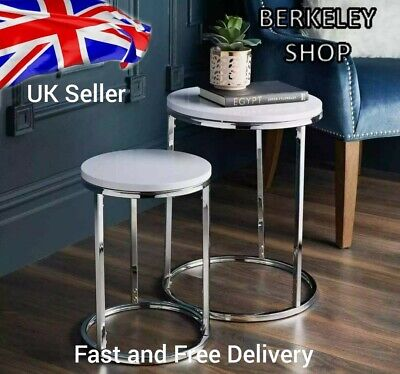 White High Gloss Nest Of 2 Round Tables With Shiny Chrome Legs Coffee Side Table • 52.90£