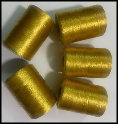 £5.48 • Buy 5 X Gold Silk Heavy Duty Spool Embroidery Thread BROTHER, JANOME, JUKI | UK