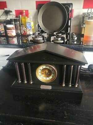 £75 • Buy Antique French Marque Deposee Slate Clock With Solid Silver Plague