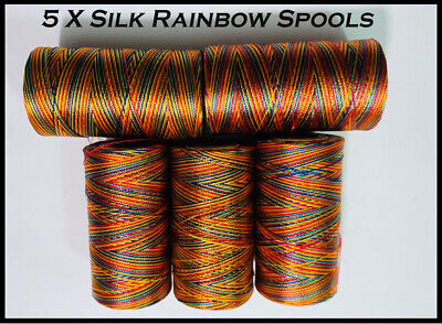 £3.18 • Buy 5 X Rainbow Spools Of Machine Silk Embroidery Threads For BROTHER ,JANOME | UK