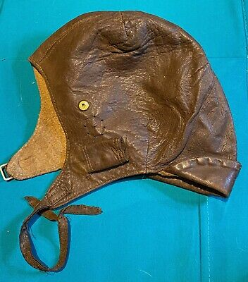 A Nice WW1 - WW2 Era Pilots Flying / Drivers Leather Helmet In Great Condition. • 45£